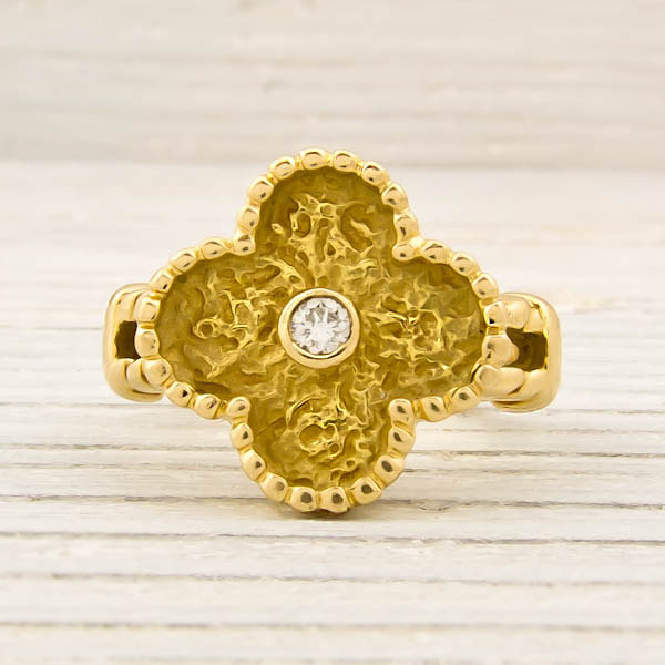 Van Cleef and Arpels Gold Diamond Alhambra Ring