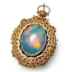 opal necklace victorian star lockets filled genuine moon gold antique pendant with crescent locket pearls photo