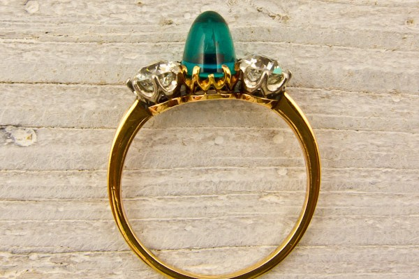 Antique Sugarloaf Emerald and Diamond Ring